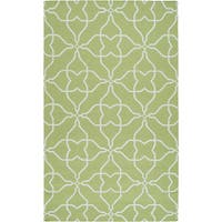 Hand-woven Springtime Geo Lime Wool Area Rug - 2' x 3'