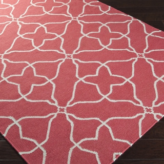 Hand-woven Watermelon Geo Honeysuckle Pink Wool Rug (5' x 8')