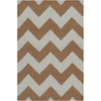 Hand-woven Neutral Chevron Mocha Wool Area Rug - 8' X 11'