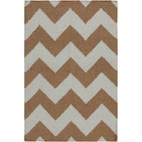Hand-woven Neutral Chevron Mocha Wool Area Rug - 9' x 13'
