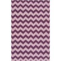 Hand-woven Berry Chevron Berry Wool Area Rug - 9' x 13'
