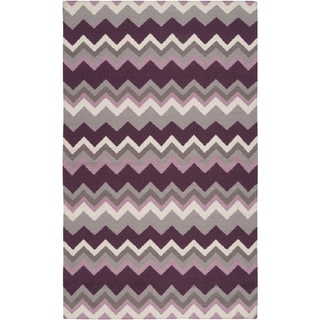Handwoven Wine Chevron Prune Purple Wool Rug (3'6 x 5'6)