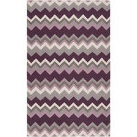 Hand-woven Wine Chevron Prune Purple Wool Area Rug - 3'6 x 5'6