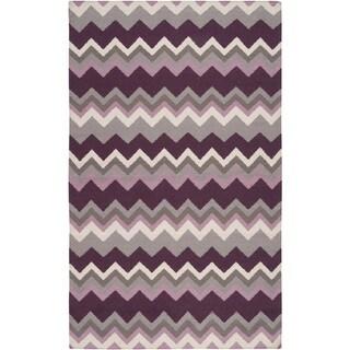 Hand-woven Wine Chevron Prune Purple Wool Area Rug - 9' x 13'