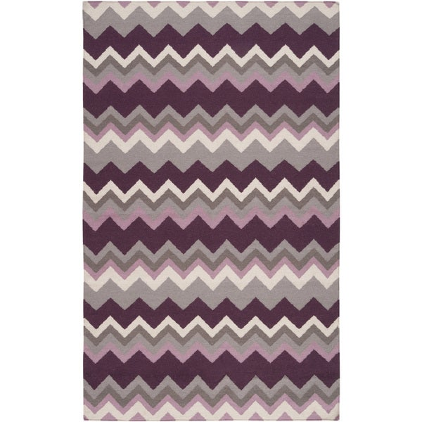 Hand-woven Wine Chevron Prune Purple Wool Area Rug - 9' x 13'