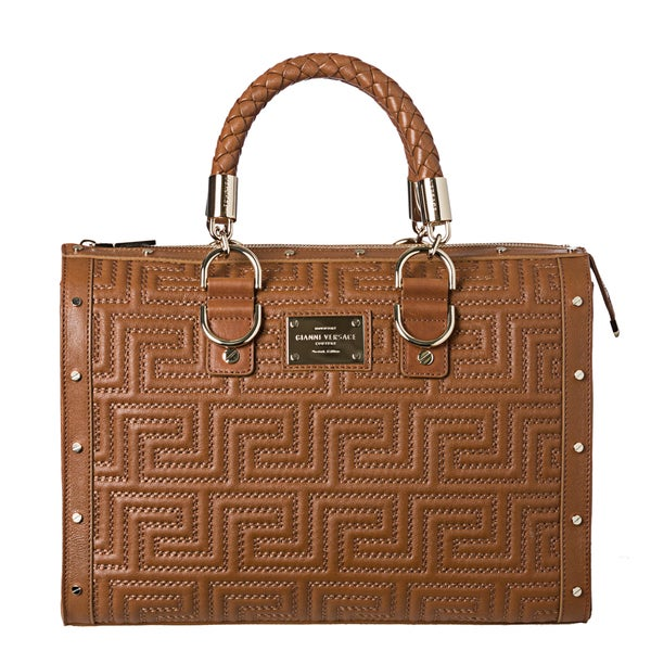 445bac6c96c0 Shop Versace  Stitching Couture  Brown Leather Bowling Bag - Free ...