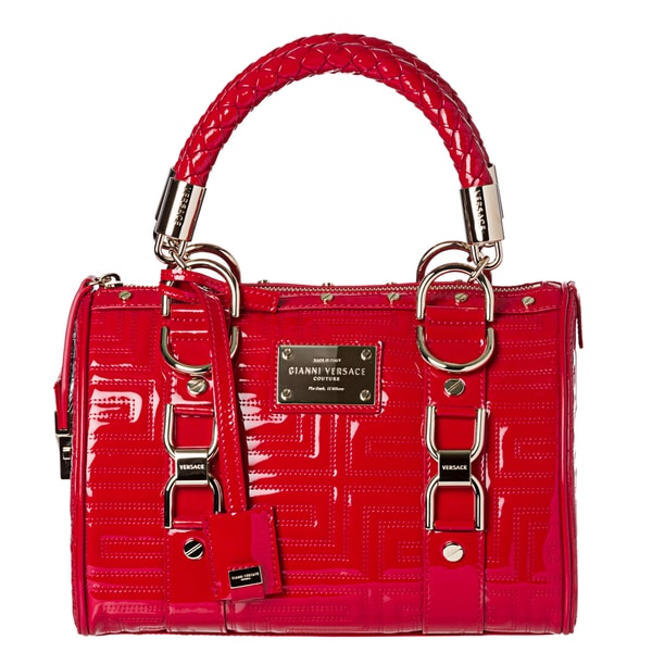 Versace Couture 'Vernice' Red Patent Leather Satchel Bag