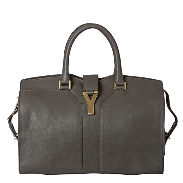 Yves Saint Laurent 'Cabas Y' Medium Grey Leather Tote Bag