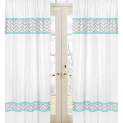 Sweet Jojo Designs Gray, Turquoise Blue and White 84-inch Window Treatment Curtain Panel Pair for Turquoise Zig Zag Collection