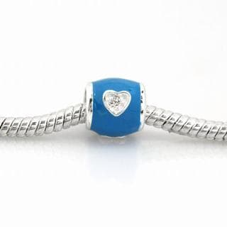 De Buman Sterling Silver Cubic Zirconia and Blue Enamel Heart Charm Bead
