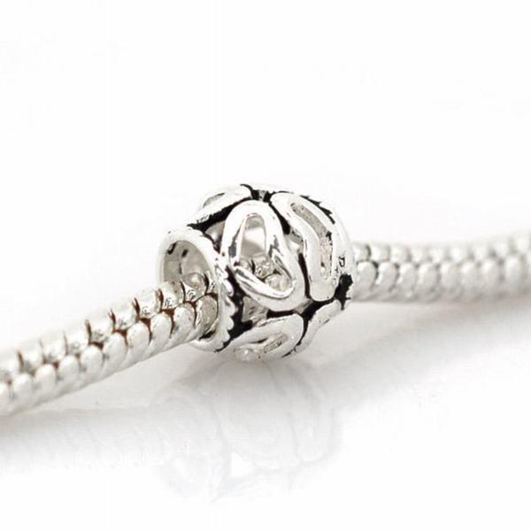 De Buman Sterling Silver Heart Sphere Charm Bead