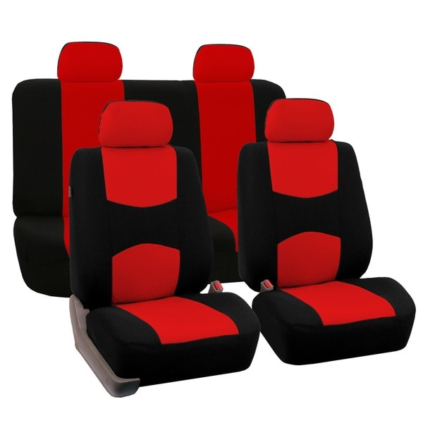 Fh Group Red Fabric Full Set Seat Covers Solid Bench For Sedans