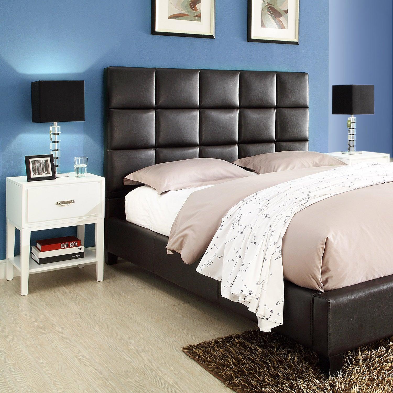 Tribecca Home Sarajevo Dark Brown Vinyl Bed With White Rectangular Nightstands Overstock 7637002