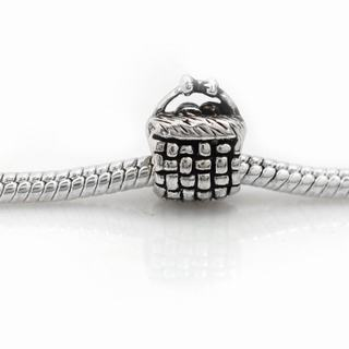 De Buman Sterling Silver Basket Charm Bead