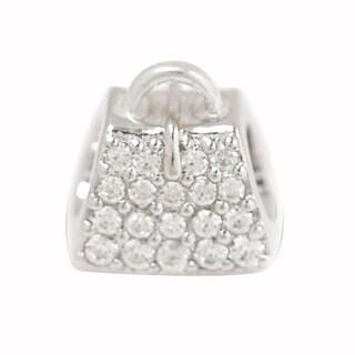 De Buman Sterling Silver Cubic Zirconia Handbag Charm Bead