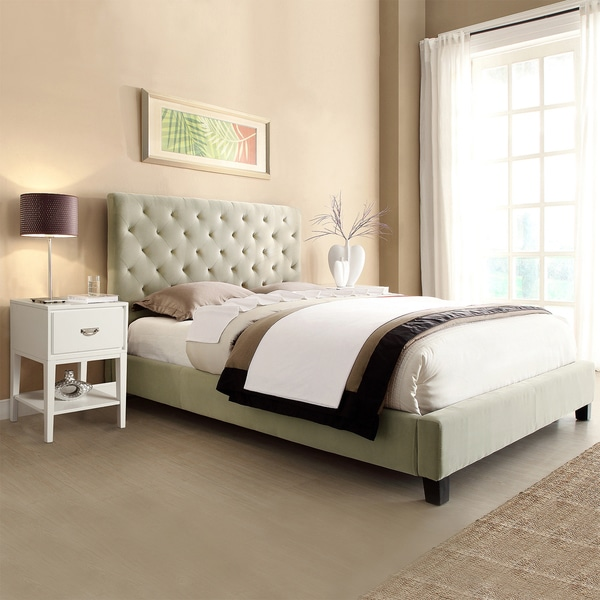 TRIBECCA HOME Sophie Taupe Velvet Bed with Two White Retangular Nightstands