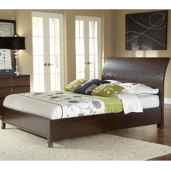 Wave Patterned Chocolate Brown Platform Bed