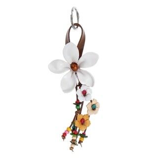 Handmade Beautiful Daisy Leather Key Chain or Key Ring (Thailand)