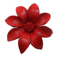 Handmade Water Lily Genuine Leather 2 in 1 Floral Brooch or Hairclip (Thailand)