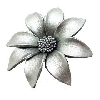 Water Lily Genuine Leather 2 in 1 Floral Brooch or Hairclip (Thailand)