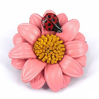 Lady Bug Kiss Leather Floral 2 in 1 Hairpin or Brooch (Thailand)