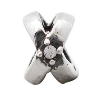 De Buman Sterling Silver White Cubic Zirconia Circle Charm Bead