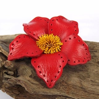 Timeless Jasmine Genuine Leather 2 in1 Hairpin or Brooch (Thailand)
