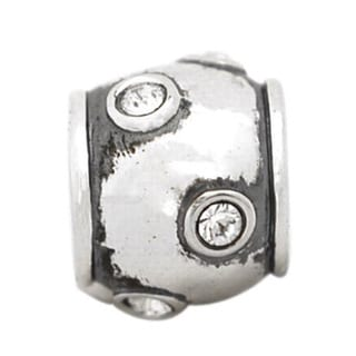 De Buman Sterling Silver White Crystal Charm Bead