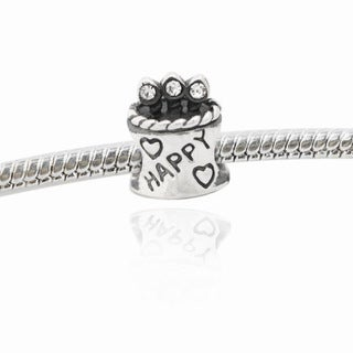 De Buman Sterling Silver Birthday Cake Crystal Charm Bead