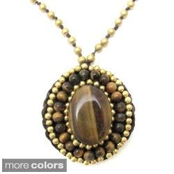 Handmade Mosaic Oval Natural Stone and Brass Embroidered Necklace (Thailand)