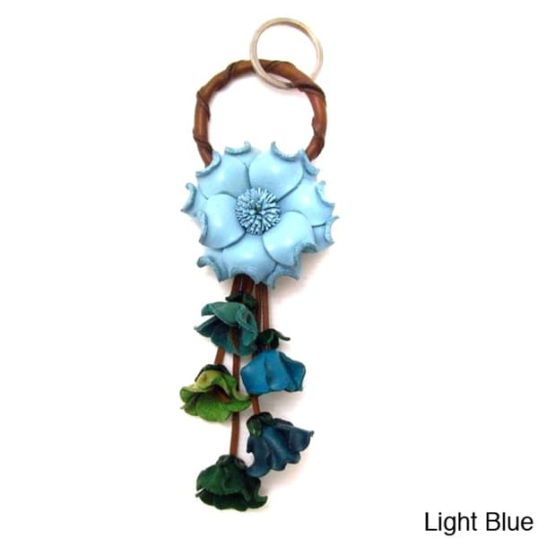 Handmade Floral Paradise Genuine Leather Loop Keychain KeyFinder (Thailand)