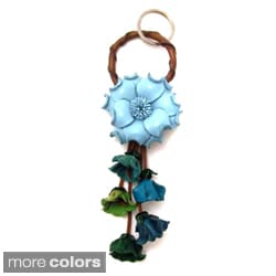 Floral Paradise Genuine Leather Loop Keychain KeyFinder (Thailand)