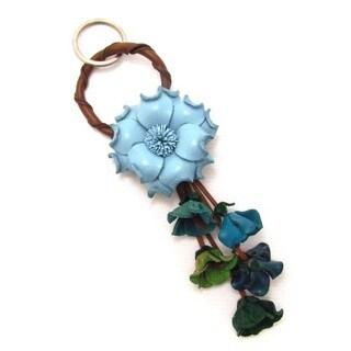 Floral Paradise Genuine Leather Loop Keychain KeyFinder (Thailand)