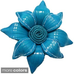 Handmade Floral Mystery Genuine Leather 2 in 1 Hairclip or Brooch (Thailand)