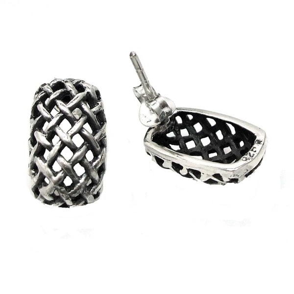 Handmade Curvy Rectagular Basket Weave .925 Silver Post Earrings (Thailand)