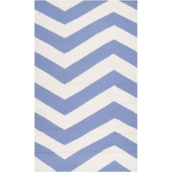 Hand-woven Spring Chevron Spring Wool Area Rug - 8' x 11'