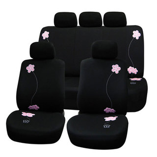 Black Flower Embroidery Airbag-safe Fabric Seat Covers