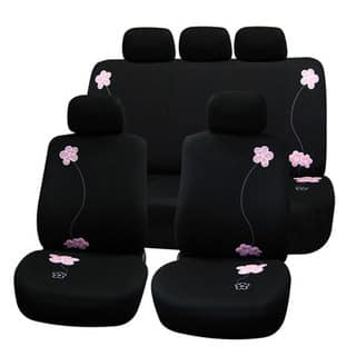 Black Flower Embroidery Airbag Safe Fabric Seat Covers