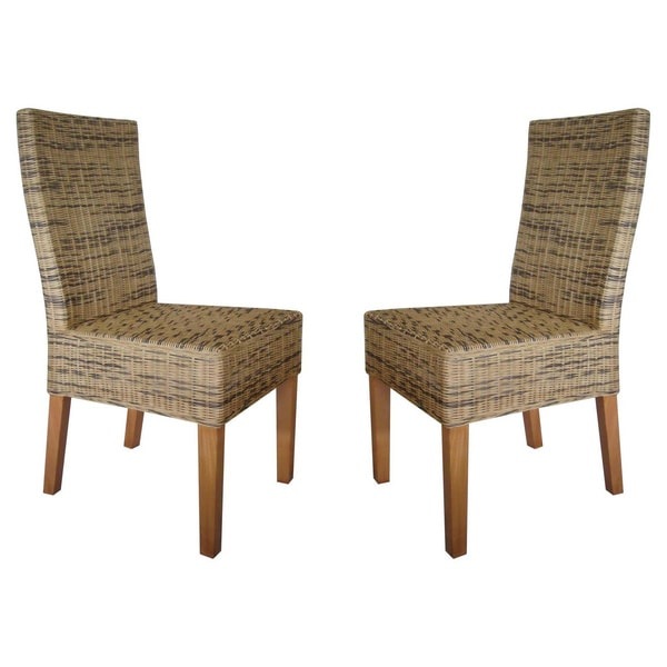 Rattan Living Brown Wicker Dining Chairs (Set of 2)