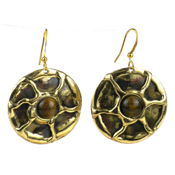 Handcrafted Gold Tiger Eye Sun Earrings (South Africa)