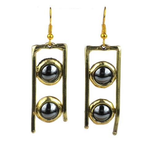 Handmade Hematite and Brass Ladder Earrings (South Africa)