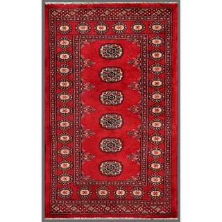 Herat Oriental Pakistani Hand-knotted Bokhara Wool Rug - 2'6 x 4'1