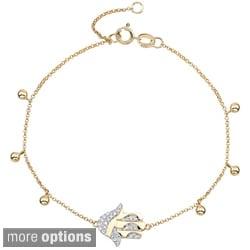 Victoria Kay 14k Two-tone Gold 1/8ct TDW Diamond Hamsa Bracelet (J-K, I2-I3)