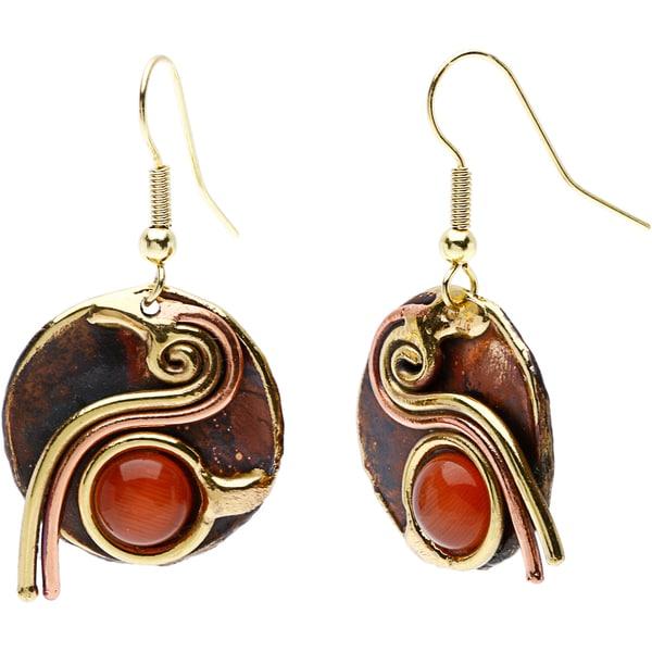 Handmade Peach Tiger Eye Swirl Earrings (South Africa)
