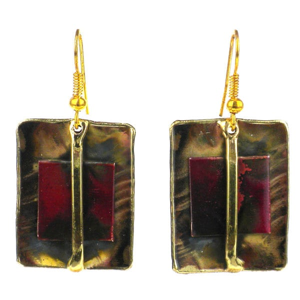 Global Crafts Handmade Square on Square Copper and Brass Earrings (South Africa)