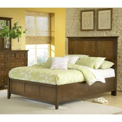 Modern Shaker Truffle Solid Mahogany Panel Bed