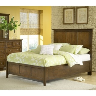 Modern Shaker Truffle Solid Mahogany Panel Bed