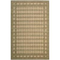Cosmopolitan Diamond Print Honey Wool Rug (5'3 x 8'3)
