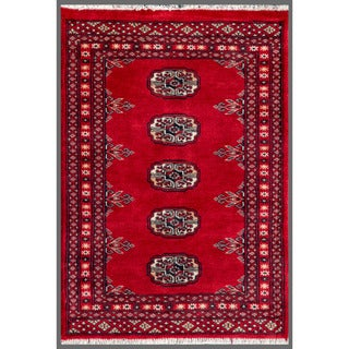 Herat Oriental Pakistani Hand-knotted Bokhara Red/ Ivory Wool Accent Rug (1'11 x 2'9)