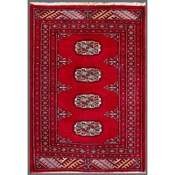 Handmade Herat Oriental Pakistani Bokhara Wool Rug (Pakistan) - 2' x 3'